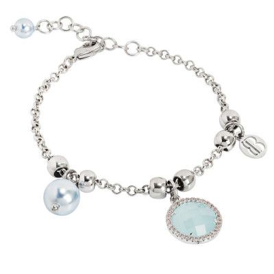 Bracelet with Swarovski beads light blue and crystal green water