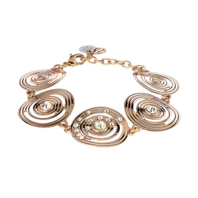 The semirigid Bracelet gold plated pink with decoration of inspiration Maya and Swarovski