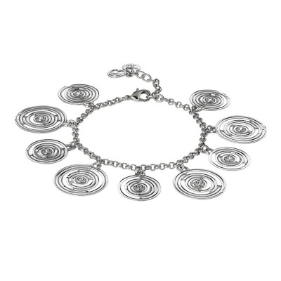 Bracelet rodiatos with concentric charms and Swarovski