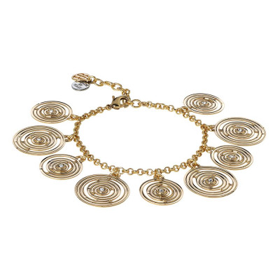 Plated Bracelet yellow gold with concentric charms and Swarovski