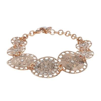 The semirigid Bracelet gold plated pink with decoration in relief and Swarovski