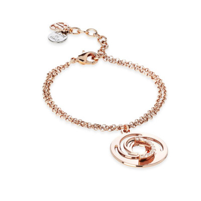 Plated Bracelet pink gold pendant with a vortex and zircons