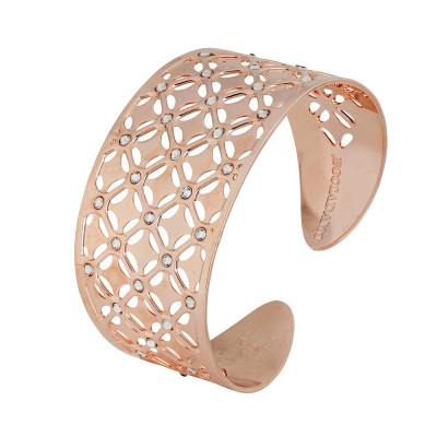 Bracelet to wide band gold plated pink with decoration in relief and Swarovski