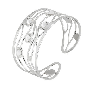 Bracelet to wide band with decoration with waves and Swarovski