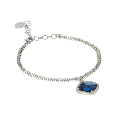 Bracelet with briolette crystal blue montana and zircons