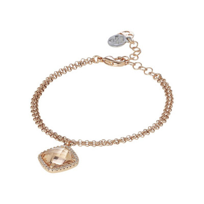 Bracelet with crystal briolette peach and zircons