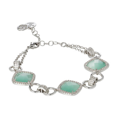 Modular Bracelet with crystals green mint and zircons