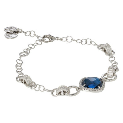 Bracelet with central briolette blue montana and zircons