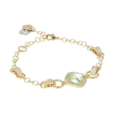Bracelet with central chrysolite briolette and zircons