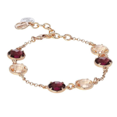 Bracelet with crystals amethyst and peach