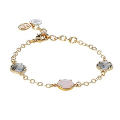 Bracelet with crystals fumèe pink quartz milk