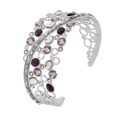 Rigid bracelet with decoration of Swarovski crystal and ametyst