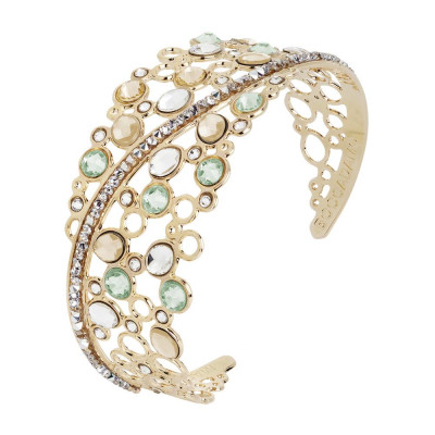 Rigid bracelet with decoration of Swarovski crystal, chrysolite and gold
