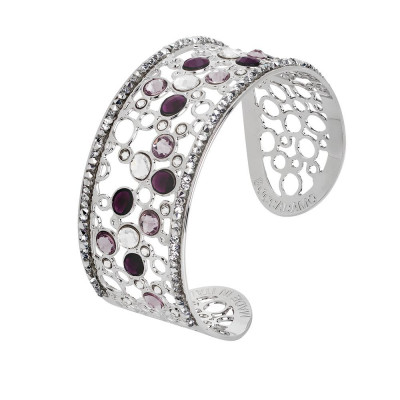 Bracelet band with decoration of Swarovski crystal and ametyst