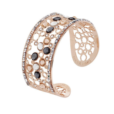 Bracelet band with decoration of Swarovski crystal, peach and silver night