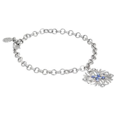 Bracelet with coral charm and blue Swarovski