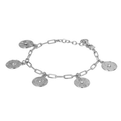 Rhodium-plated bracelet with charms and Swarovski crystals