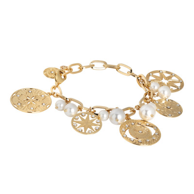 Yellow gold plated bracelet with charms, crystals and Swarovski pearls