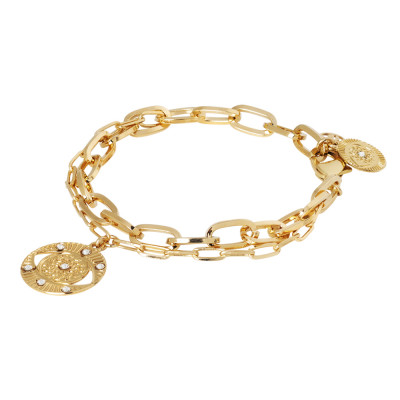 Yellow gold plated double rectangular chain bracelet with charm and Swarovski