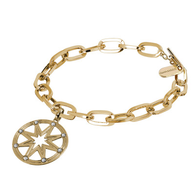 Yellow gold plated bracelet with rectangular links with wind rose and Swarovski