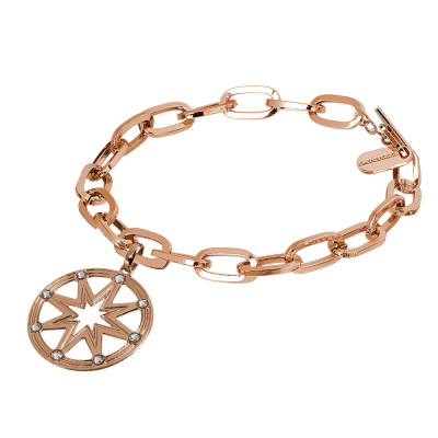 Rose gold plated bracelet with rectangular links with wind rose and Swarovski