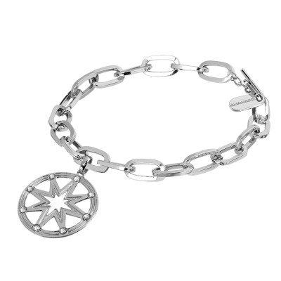 Rhodium-plated bracelet with rectangular links with wind rose and Swarovski