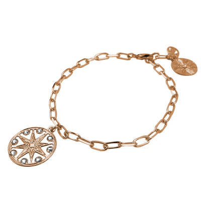 Breacciale rose gold plated chain with wind rose and Swarovski