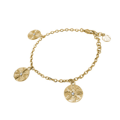 Yellow gold plated bracelet with wind rose and Swarovski charms
