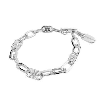 Rhodium-plated bracelet with rectangular links and decorated with wind rose and Swarovski