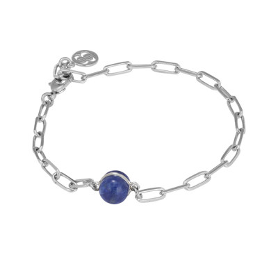 Chain bracelet with rutilated blue cabochon