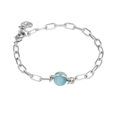 Chain bracelet with floating blue cabochon