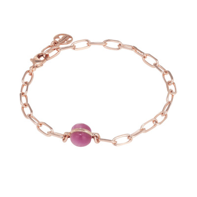 Chain bracelet with fuchsia cabochon