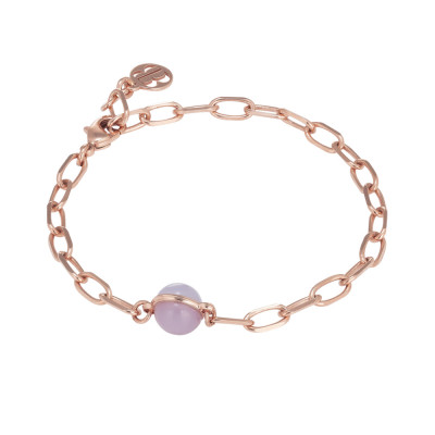 Chain bracelet with blue-lilac cabochon