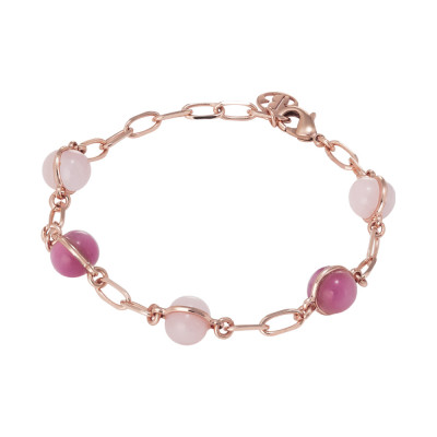 Chain bracelet with cabochons in shades of pink