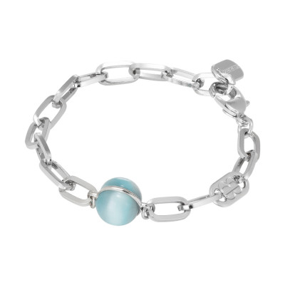 Chain bracelet with large floating blue cabochon