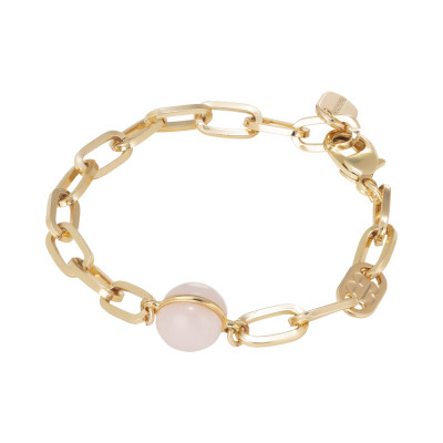 Chain bracelet with rose quartz cabochon