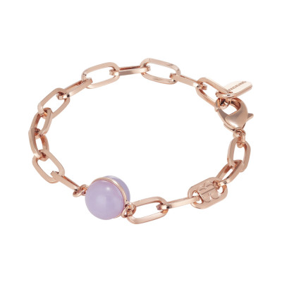 Chain bracelet with large blue-lilac cabochon