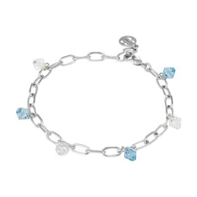 Chain bracelet with Swarovski aquamarine and crystal