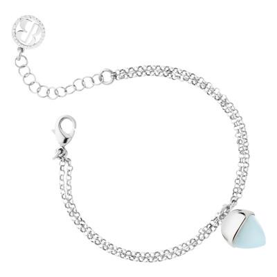 Double strand bracelet with aquamarine crystal