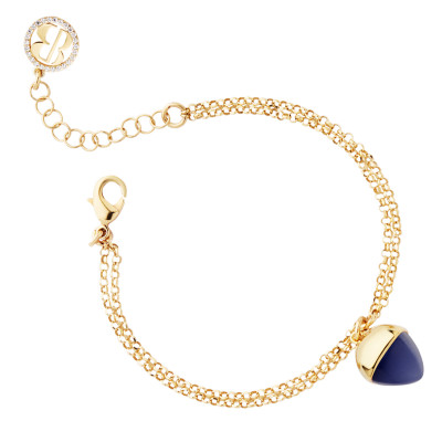 Double strand bracelet with tanzanite crystal