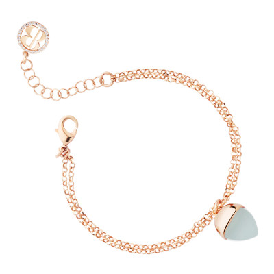 Rose gold plated double wire bracelet with aquamarine crystal