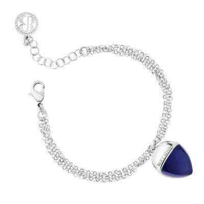 Double strand bracelet with tanzanite-colored pendant