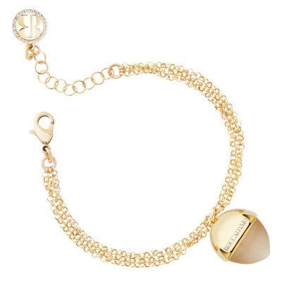 Double strand bracelet with moonstone pendant