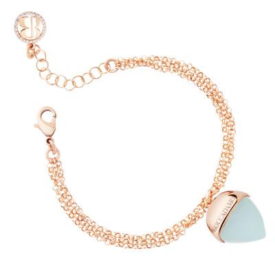 Double strand bracelet with aquamarine pendant