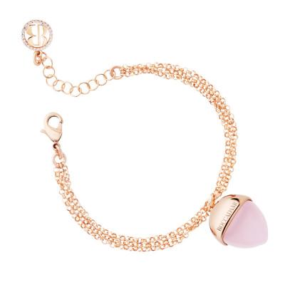 Double strand bracelet with rose quartz color pendant