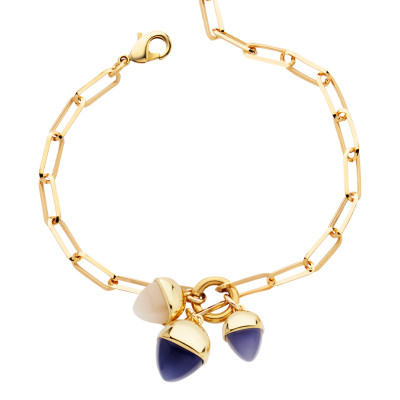 Bracelet with tuft of tanzanite-colored pendants and moonstone