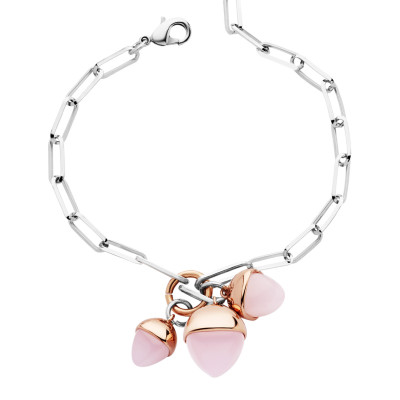 Bracelet with tuft of rose quartz colored pendants