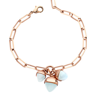 Bracelet with a tuft of aquamarine pendants