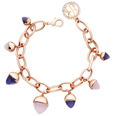 Oval mesh bracelet with rose quartz and tanzanite crystals