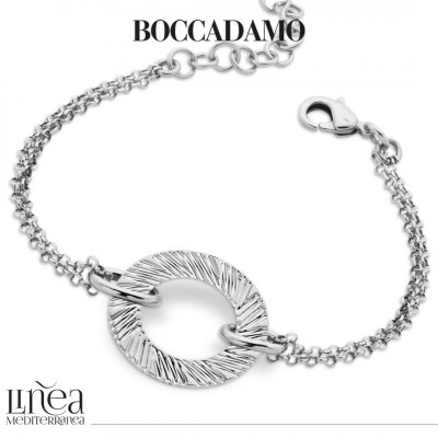 Rhodium-plated bracelet with circular decoration